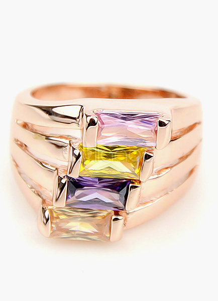 Rose Gold Color Multi-Band Bright Zircon Statement Ring