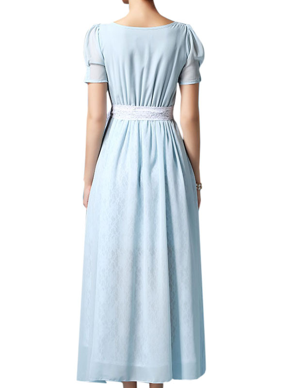 robe longue en chiffon bleu clair fendu avec dentelle. Black Bedroom Furniture Sets. Home Design Ideas