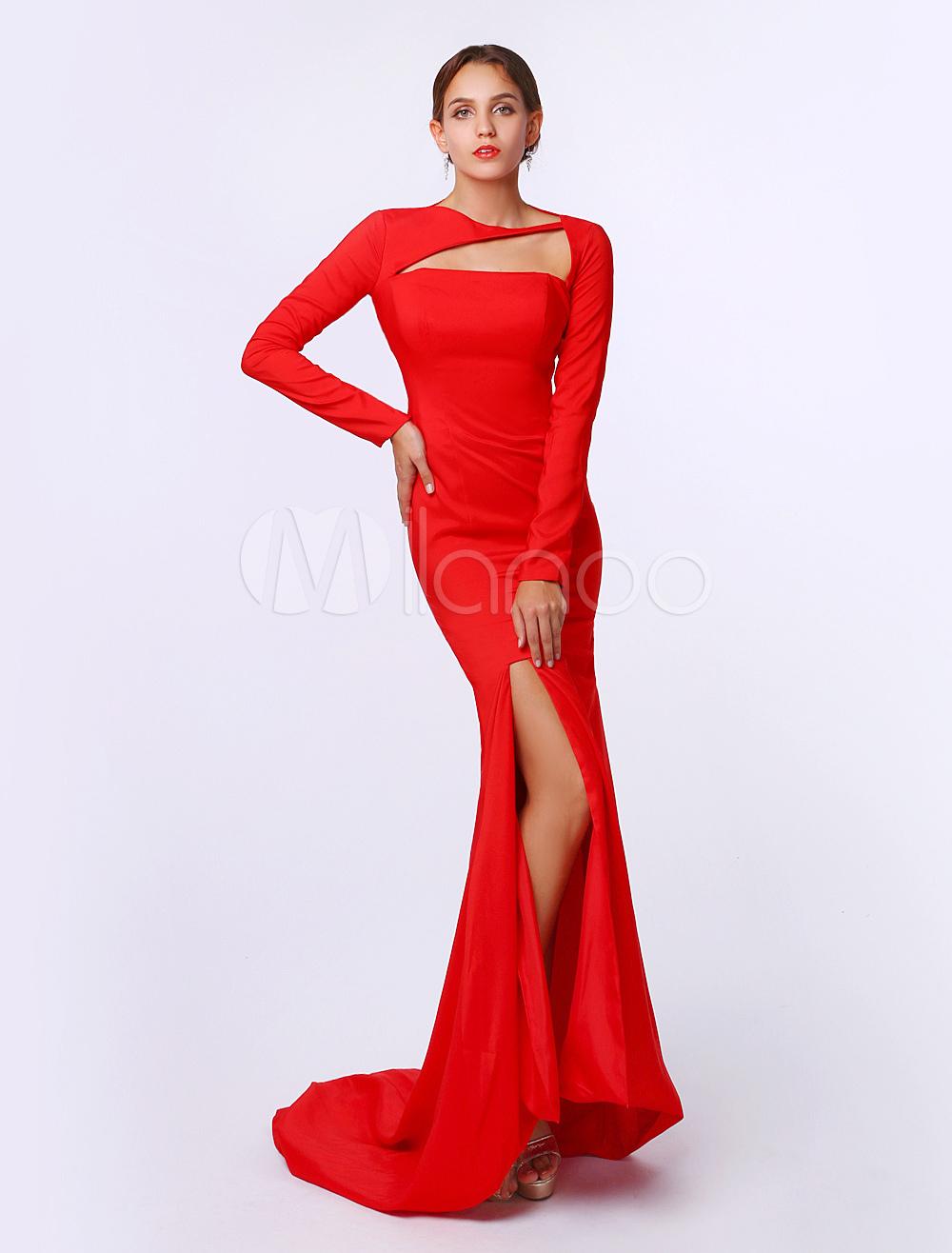 Robe de mariée rouge sirène fendue à col bateau - Milanoo.com