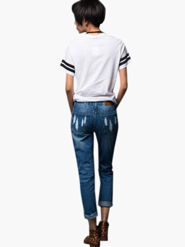 l ssige blaue nat rliche taille zerrissene jeans. Black Bedroom Furniture Sets. Home Design Ideas