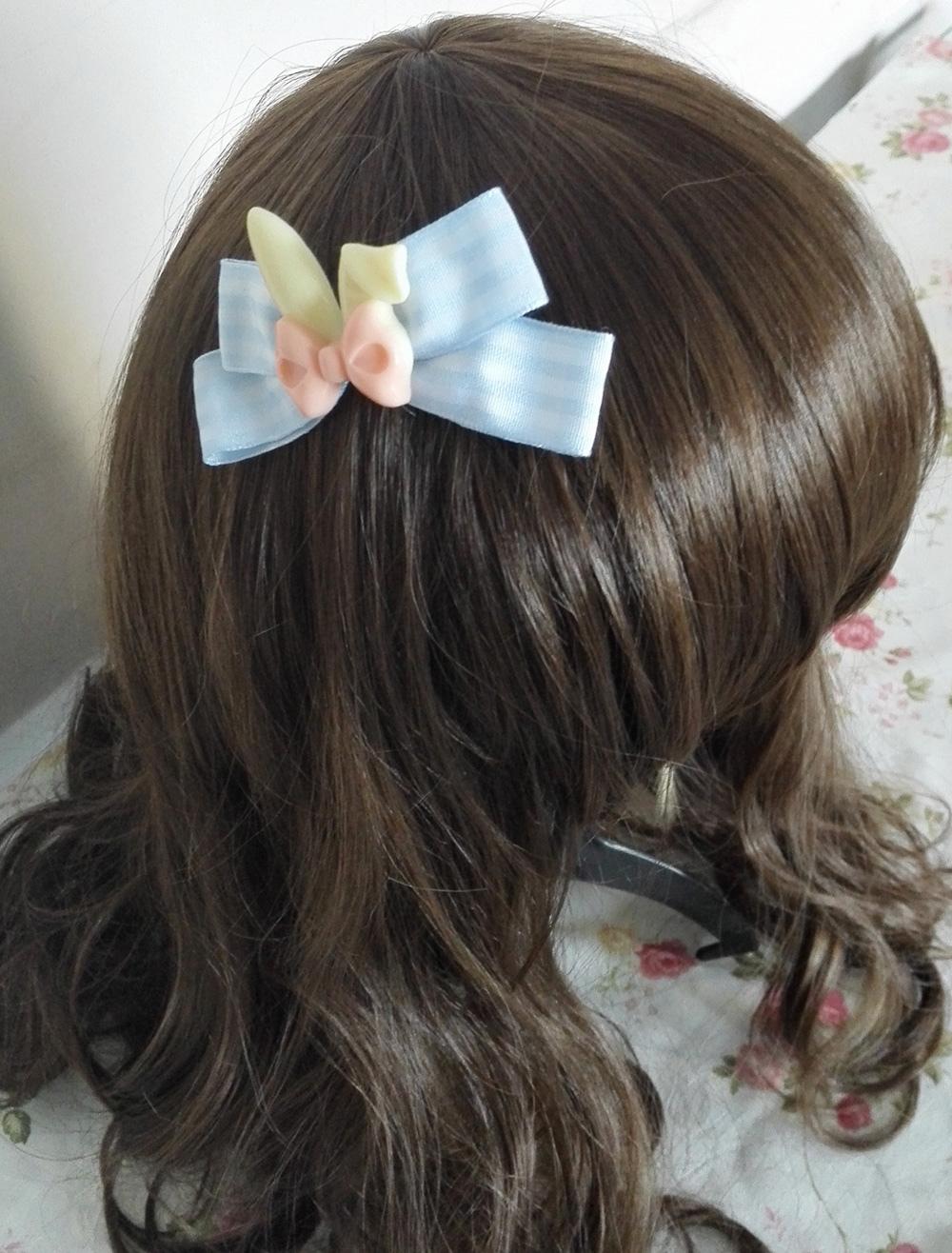Light Sky Blue Bows Easter Bunny Lolita Sidepin