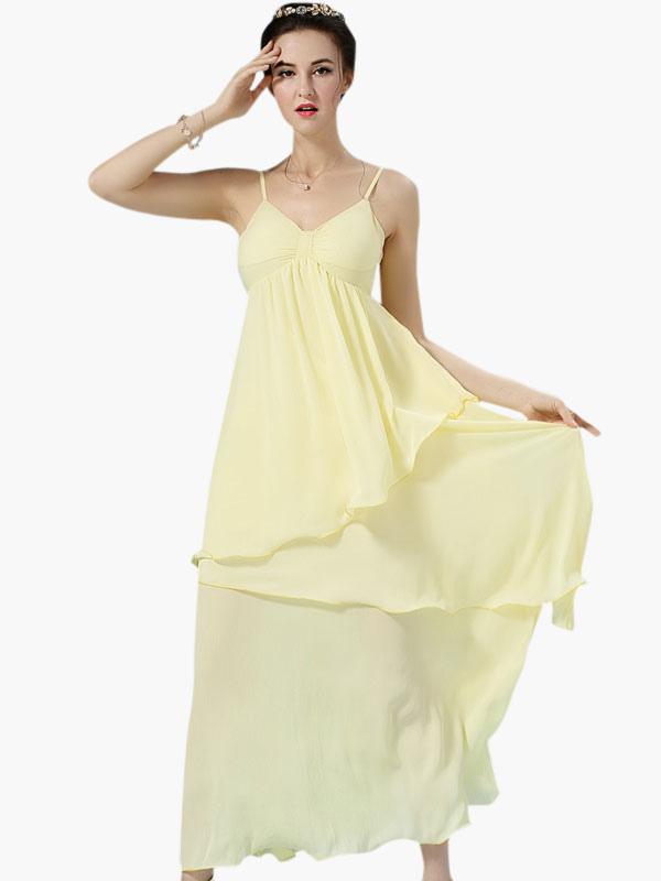 robe longue jaune chiffon unicolore. Black Bedroom Furniture Sets. Home Design Ideas