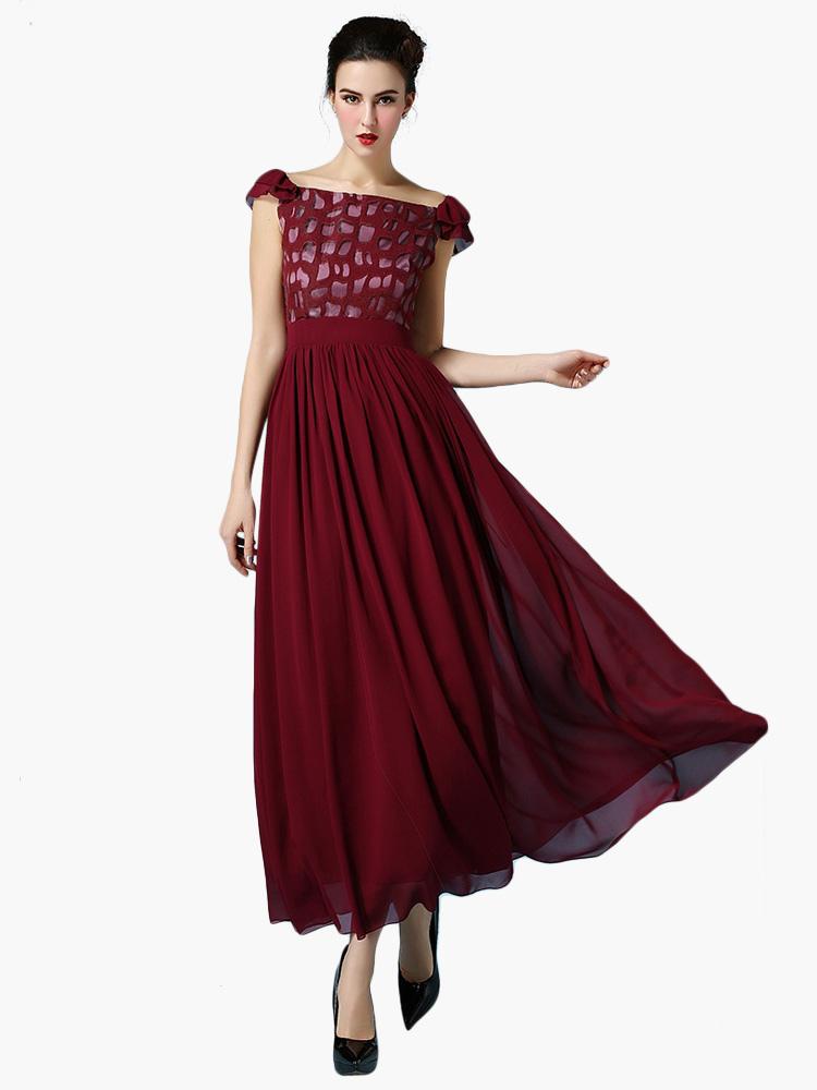 robe longue bordeaux chiffon bicolore col carr. Black Bedroom Furniture Sets. Home Design Ideas