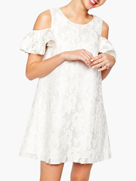 White Short Sleeves Lace Attractive Shift Dress For Women (Women\\'s Clothing Lace Dresses) photo