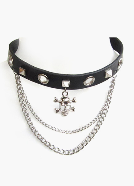 Punk Black Leather Stud Choker with Skull and Chain