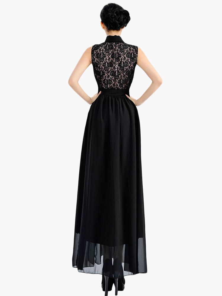 robe longue chiffon dentelle fendu volants col large. Black Bedroom Furniture Sets. Home Design Ideas