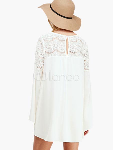 robe d 39 t blanche chiffon avec dentelle. Black Bedroom Furniture Sets. Home Design Ideas