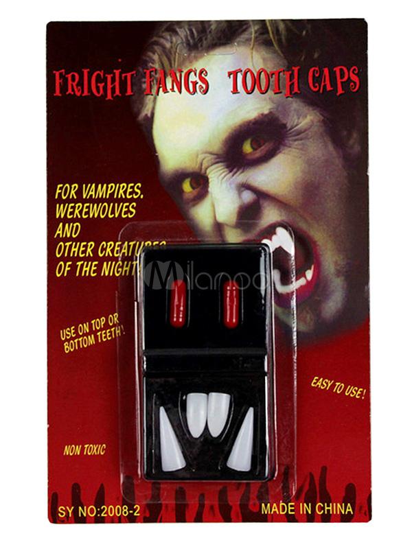 Cool White Plastic Halloween Vampire False Teeth