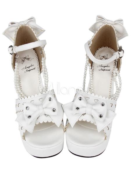 PU Leather Bow White Mid Heel Round Toe Lolita Sandals