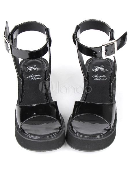 PU Leather Black Mid Heel Round Toe Lolita Sandals