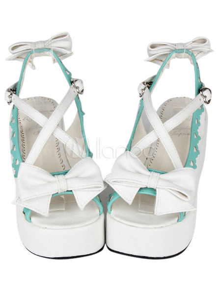 Lovely Bow Criss-Cross PU Leather White Lolita Sandals