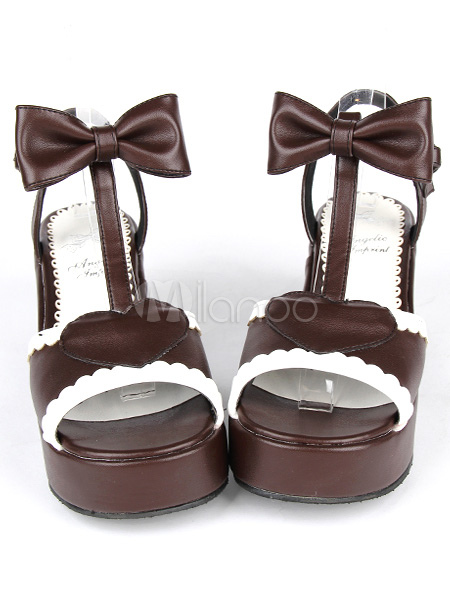 PU Leather Brown Mid Heel Round Toe Lolita Sandals
