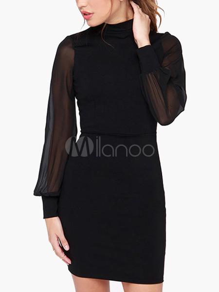 Black Illusion Long Sleeve Short Dress (Women\\'s Clothing Bodycon Dresses) photo