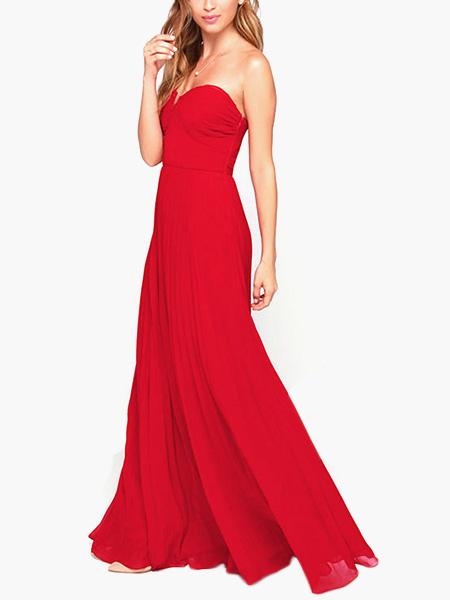 Strapless Sleeveless Woman's Red Maxi Dress (Women\\'s Clothing Maxi Dresses) photo