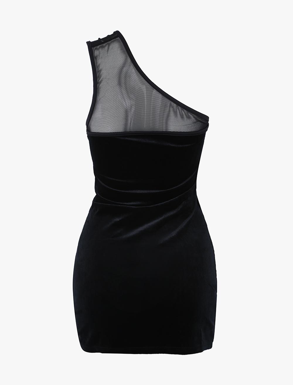 Black One Shoulder Sexy Velvet Women's Corset Dress