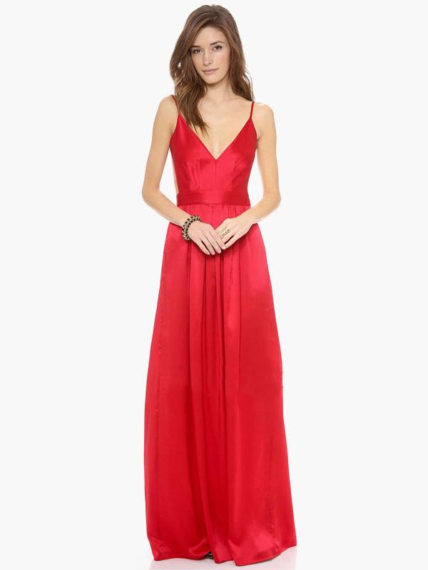 V-Neck Sleeveless Backless Long Prom Dress (Women\\'s Clothing Maxi Dresses) photo
