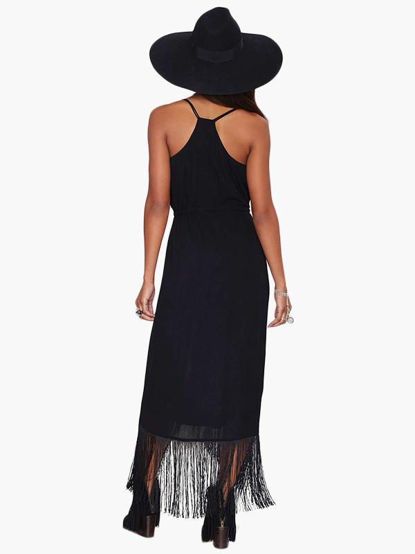 robe longue noir frange bretelles. Black Bedroom Furniture Sets. Home Design Ideas