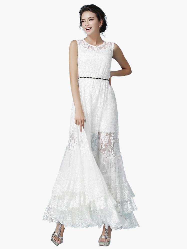 robe longue blanc dentelle multicouche. Black Bedroom Furniture Sets. Home Design Ideas