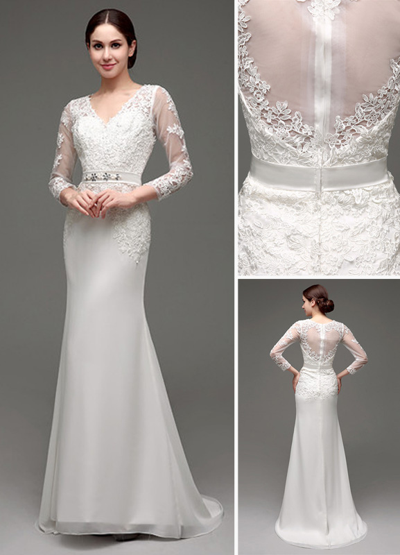 Gorgeous Sheath Column V Neck Long Sleeve Wedding Dresses : Sheath column long sleeves illusion back v neck bridal gown with