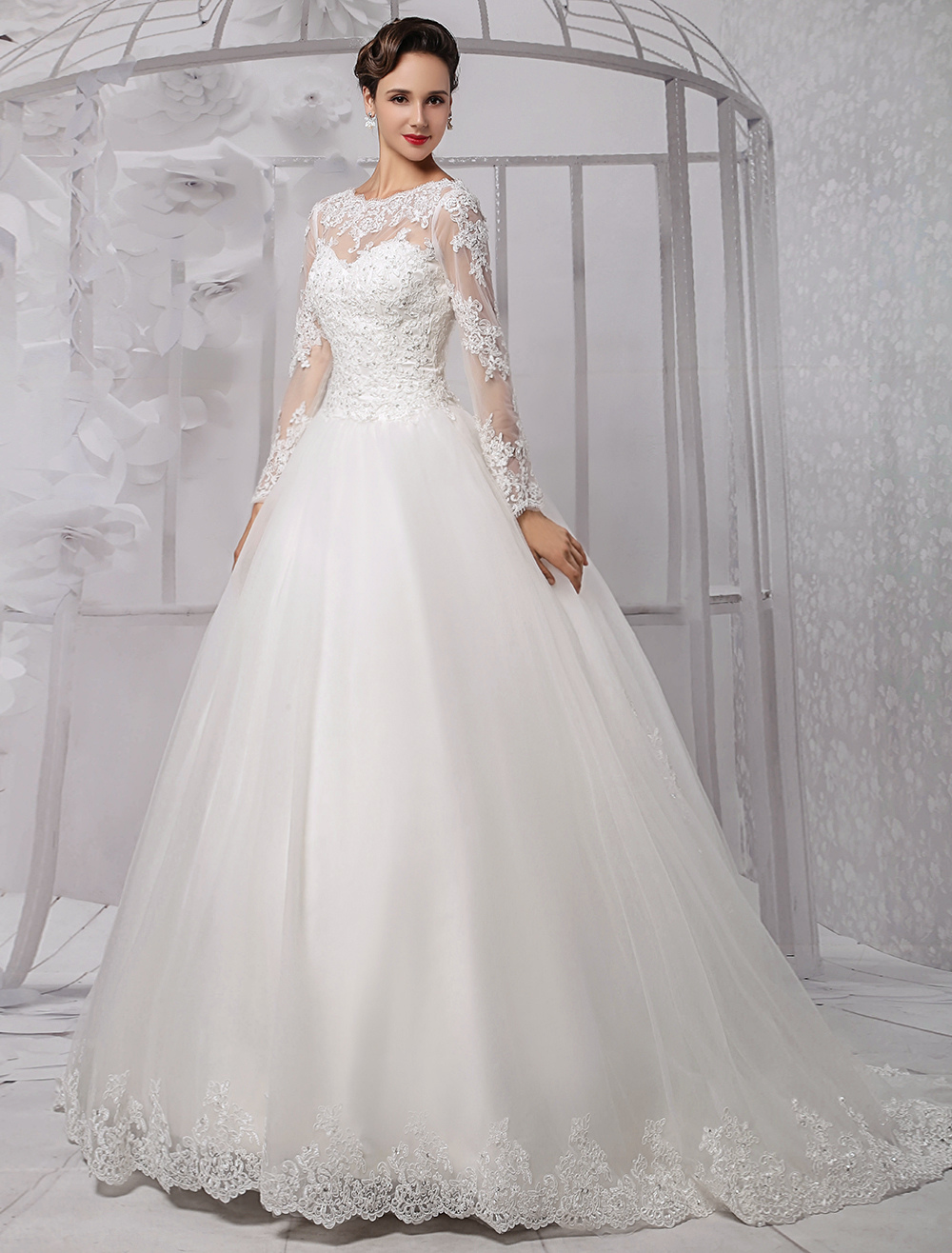 Wedding Dresses Ball Gown Long Sleeves Bridal Dress Lace Beading V Back Illusion Sweetheart Train Wedding Gown photo