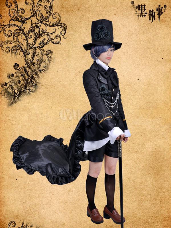 Black Butler Kuroshitsuji Ciel Phantomhive Black Steampunk Suit Anime Cosplay Costume