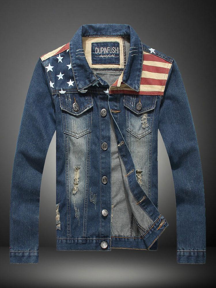 Fashionable Multicolor Denim Mens Jacket