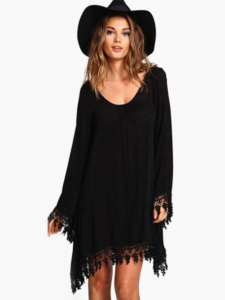 Black Long Sleeves Cotton Fabulous Shift Dress For Woman (Women\\'s Clothing Shift Dresses) photo