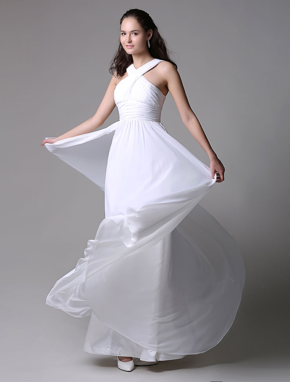Flirty Ruched Ivory Chiffon Dress with Cross Front and Keyhole Style