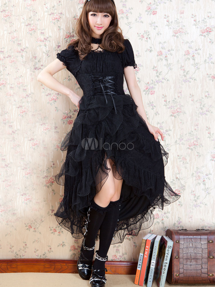 Elegant Lace Lolita One-piece Dress Short Sleeves Swallow Tail Design (Costumes) photo