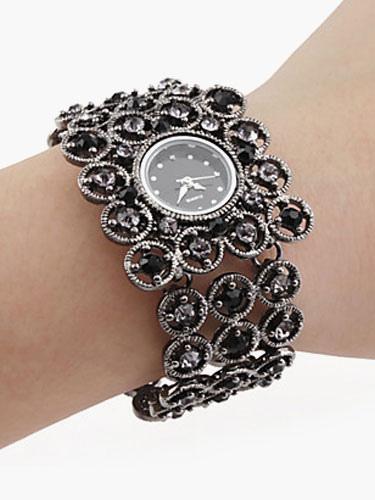 Vintage Exquisite Black Rhinestone Bracelet Watch