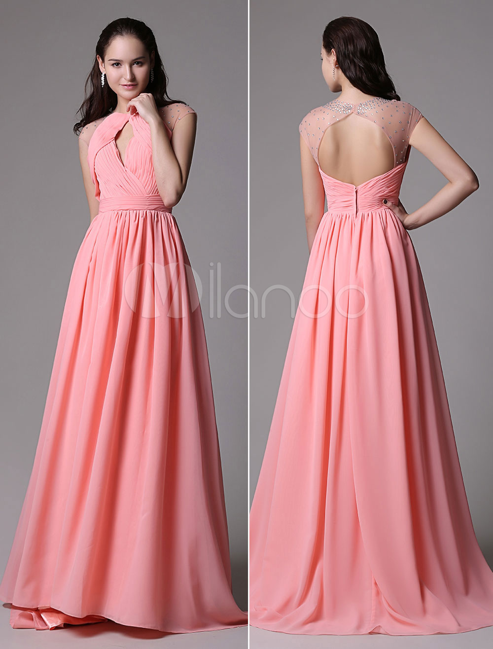 Carol Red Illusion Beading Chiffon Prom Dress with Ruched Bodice Keyhole Style at Front and Back