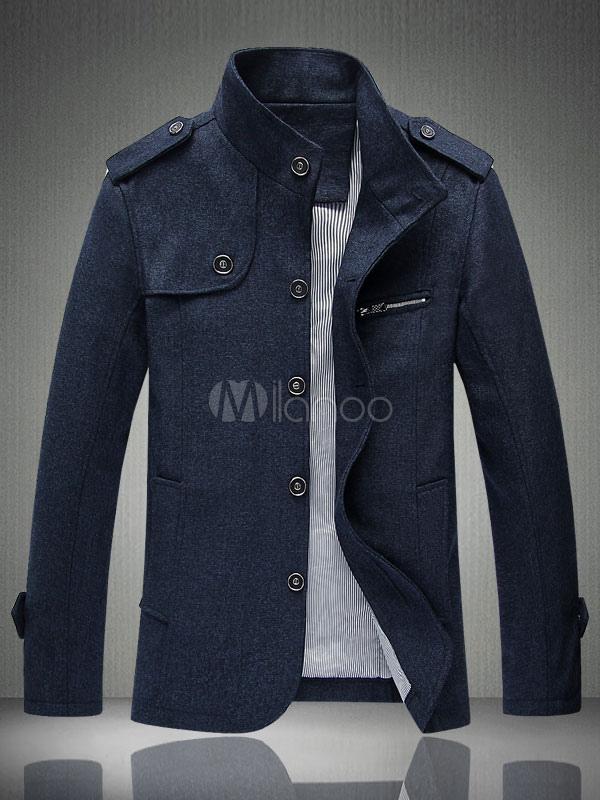 Blue Men Jacket Spring Jacket Stand Collar Long Sleeve Single Breasted Short Jacket thumbnail