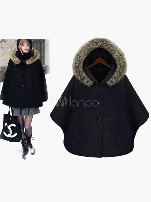 cagoule 3 4 longueur manches poncho manteau de coton. Black Bedroom Furniture Sets. Home Design Ideas