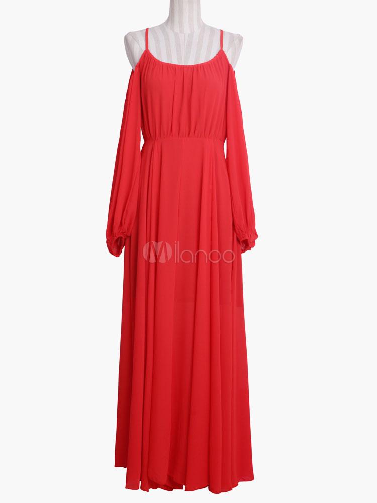 robe longue rouge en chiffon bretelles. Black Bedroom Furniture Sets. Home Design Ideas