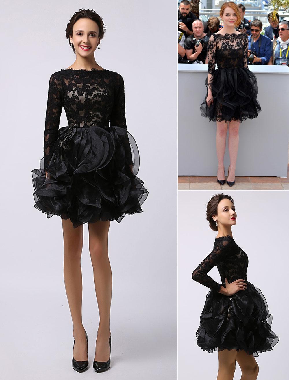 Emma Stone Cannes Black Long Sleeves Sheer Lace Organza Dress (Wedding) photo