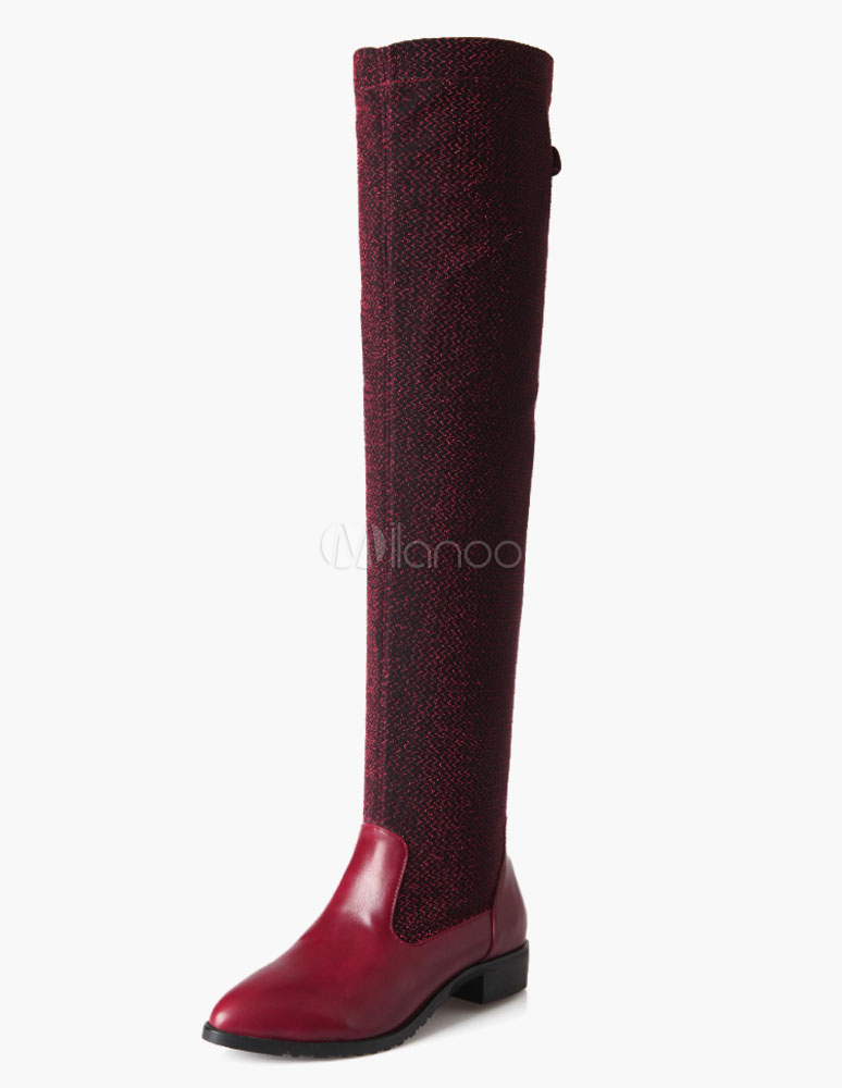 Thigh High Boots Round Toe PU Leather Modern Women's Over Knee Boots thumbnail