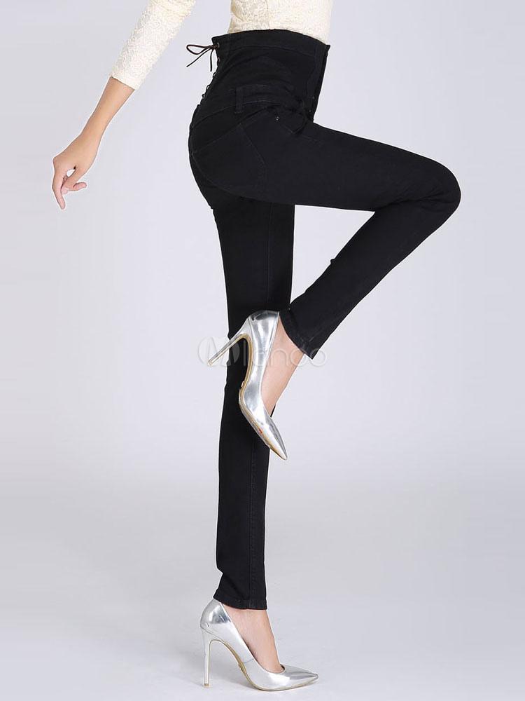 schlanke hoher taille passen gerade denim bleistift pants. Black Bedroom Furniture Sets. Home Design Ideas