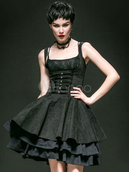 Gothic Black Cotton Layered Palace Style Lolita Dress steampunk buy now online