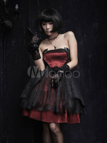 Gothic Strapless Layered Lace Up Tulle Red Satin Lolita Dress steampunk buy now online