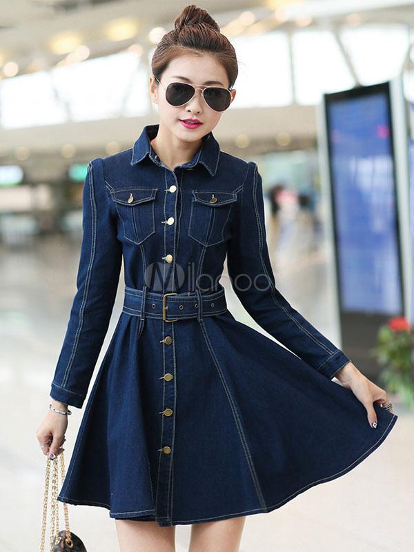 Vintage Turndown Collar Long Sleeves Pockets Denim Flared Dress (Women\\'s Clothing Shirt Dresses) photo