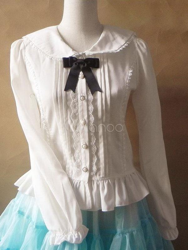 Cute Chiffon Bows Long Sleeve Lolita Blouse $36.99 AT vintagedancer.com
