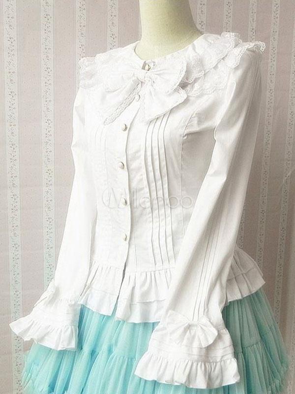 Sweet Bow Cotton Ruffle Long Sleeve Lolita Blouse $44.99 AT vintagedancer.com