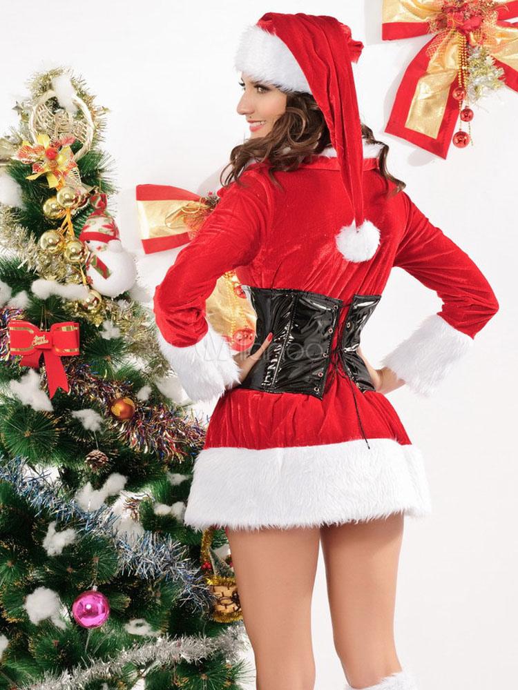 long sleeve cuffed velour sexy christmas bedroom costume