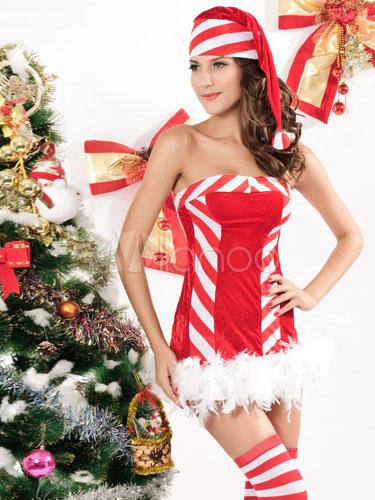 stripe strapless 2 piece velour women 39 s bedroom costume