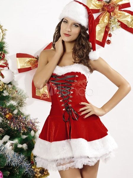 up layered polyester christmas bedroom costume for women