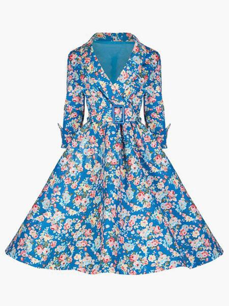 robe vintage r tro bleu claire imprim fleurie et jupe. Black Bedroom Furniture Sets. Home Design Ideas