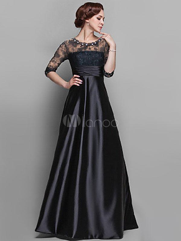 robe longue noir en chiffon avec couture visible. Black Bedroom Furniture Sets. Home Design Ideas