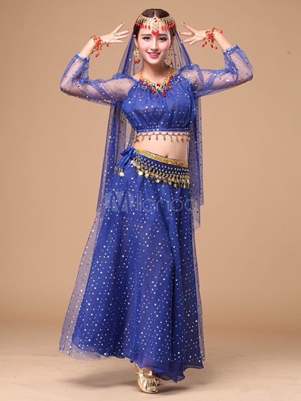 Belly Dance Costume Glitter Chiffon Bollywood Dance Dress - Milanoo.com