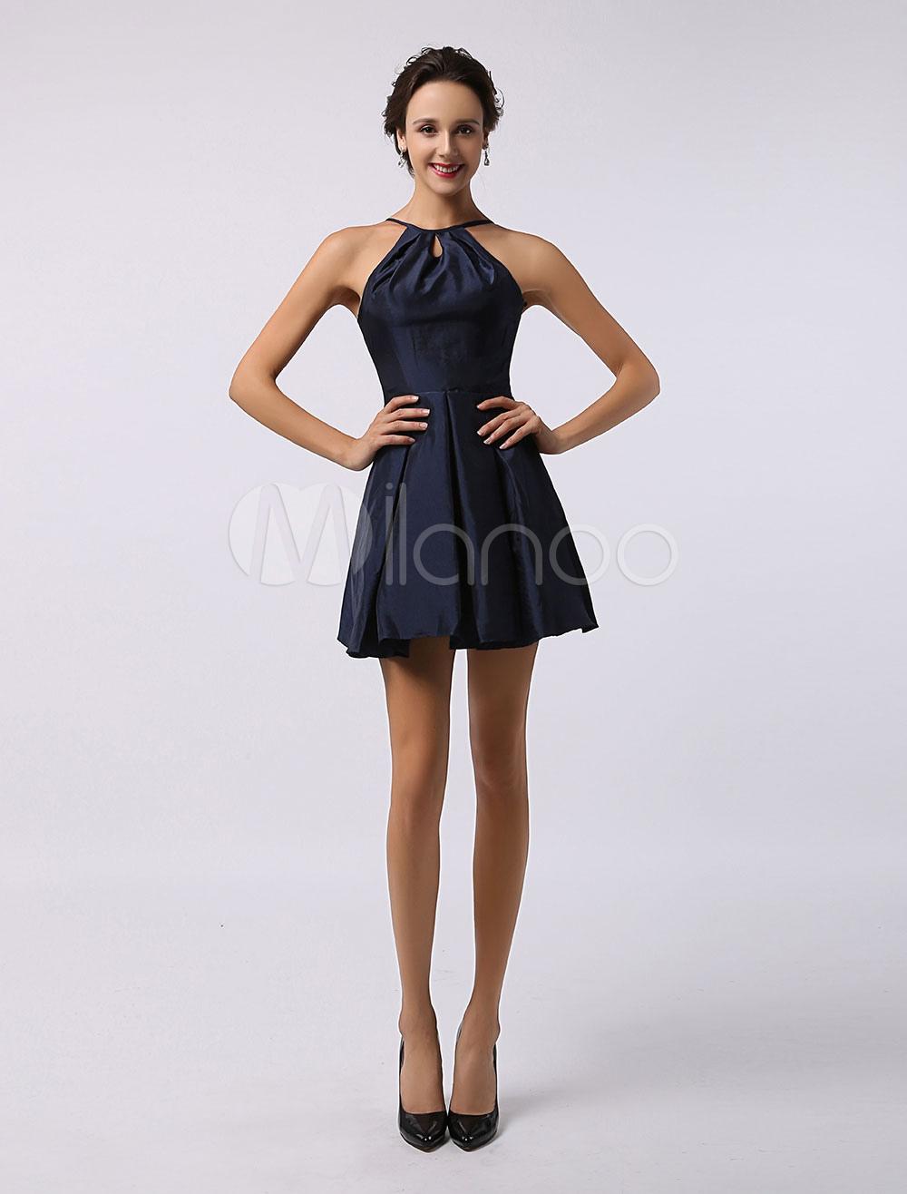 robe demoiselle d 39 honneur a ligne en satin bleu marine fonc bretelles d tail zip. Black Bedroom Furniture Sets. Home Design Ideas