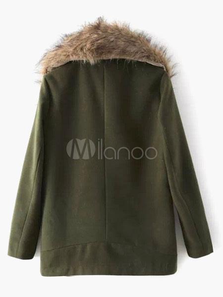 manteau vert for t en fausse fourrure avec col col revers. Black Bedroom Furniture Sets. Home Design Ideas